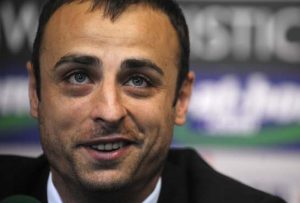 Fulham's Bulgarian striker Dimitar Berbatov speaks during a press conference in Sofia on September 3, 2012.  AFP PHOTO / NIKOLAY DOYCHINOV        (Photo credit should read NIKOLAY DOYCHINOV/AFP/GettyImages)
