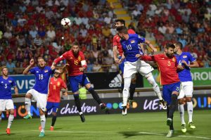 Spain's Diego Costa, center top, heads the ball to goal during their World Cup Group G qualifying soccer match Spain against Liechtenstein at the Reino de Leon Stadium, in Leon, northern Spain, Monday Sept. 5, 2016. (AP Photo/Alvaro Barrientos)